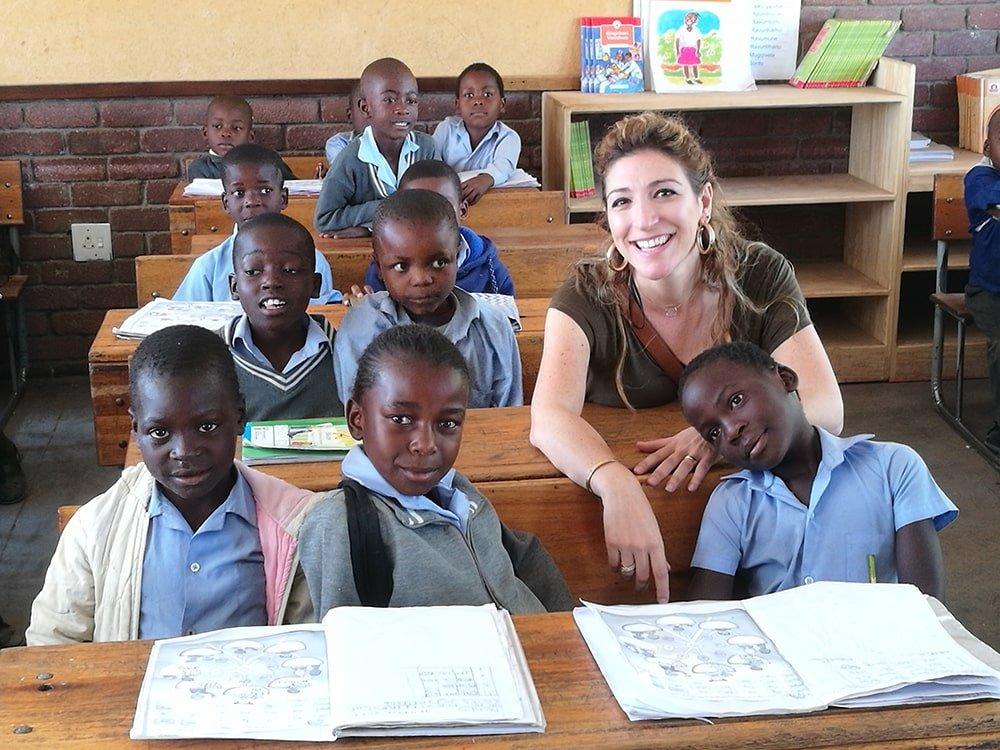 barbara between african kids in school
